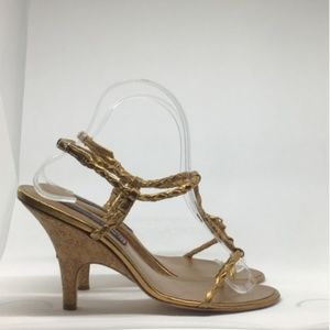 "Steven ""Lavonne"" Leather Cork Heel Braided Sandals"